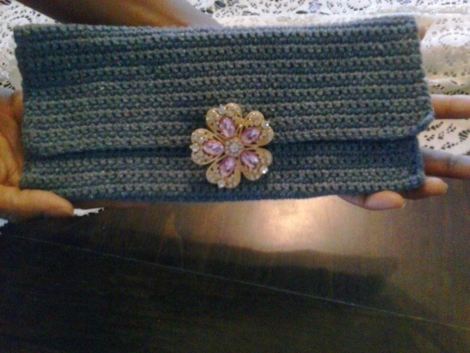 BridgeKnits™ Denim Crochet Clutch Purse©